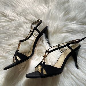 Versani Black Gold Slipback Heels